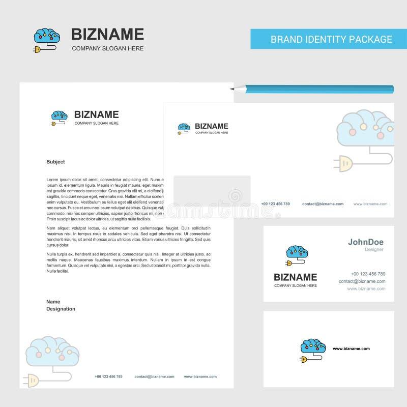 Van de bedrijfs hersenenkring Briefhoofd, Envelop en het vectormalplaatje van het visitekaartjeontwerp vector illustratie