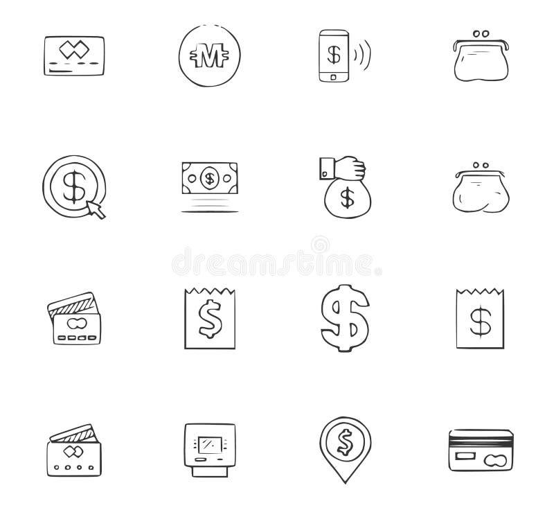 Van de bedrijfs krabbel geplaatste pictogrammen vector illustratie