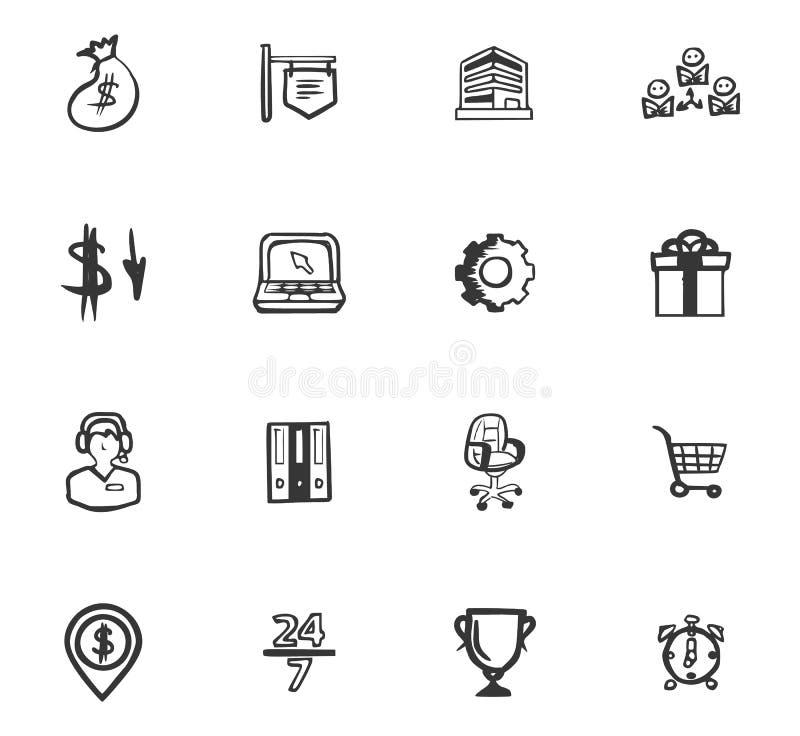 Van de bedrijfs krabbel geplaatste pictogrammen royalty-vrije illustratie