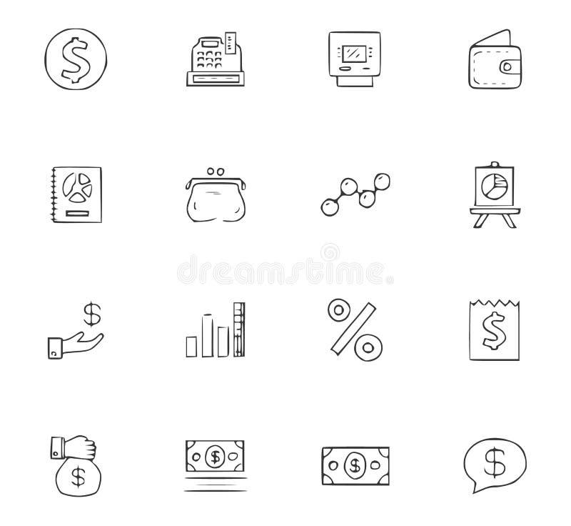 Van de bedrijfs krabbel geplaatste pictogrammen stock illustratie