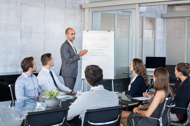 Van de bedrijfs leidersbriefing mensen stock afbeelding