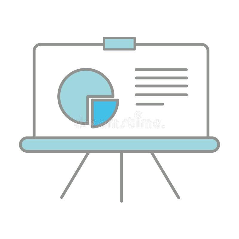 Van de bedrijfs lijnkleur presentatie met statistieken grafisch diagram stock illustratie