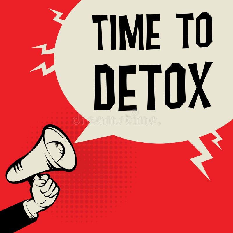 Van de bedrijfs megafoonhand concept met teksttijd aan Detox stock illustratie
