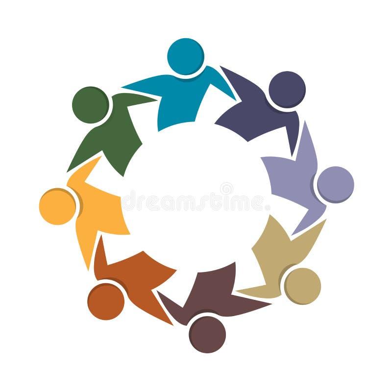 Van de de bedrijfs omhelzingsvriendschap van het embleemgroepswerk vector de eenheids van het de kleurrijke mensenpictogram logot royalty-vrije illustratie