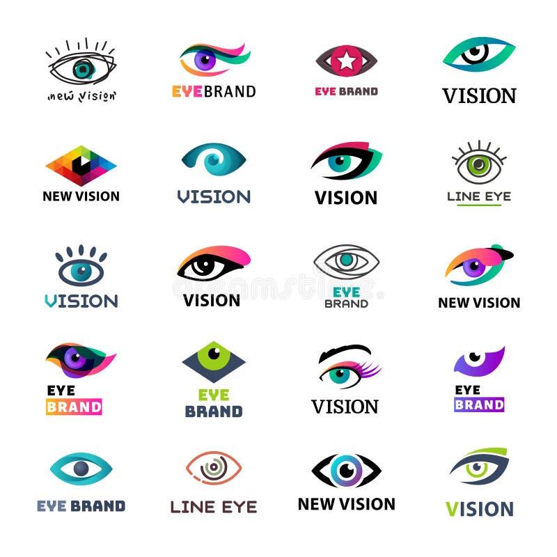 Van de bedrijfs oogoogklep pictogramglimmer het idee van het van het start malplaatjeembleem vectorillustratie de lichte bedrijfk royalty-vrije illustratie