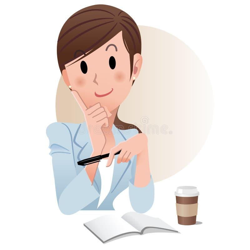 Van de bedrijfs paardestaart jonge vrouw bij koffiepauze stock illustratie
