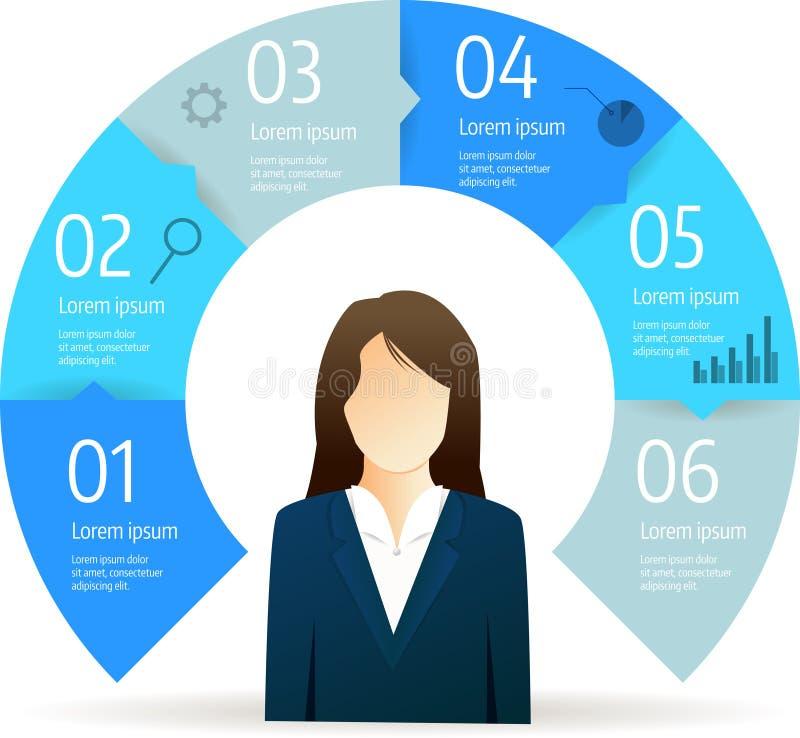 Van de bedrijfs stapcirkel infographic diagram stock illustratie