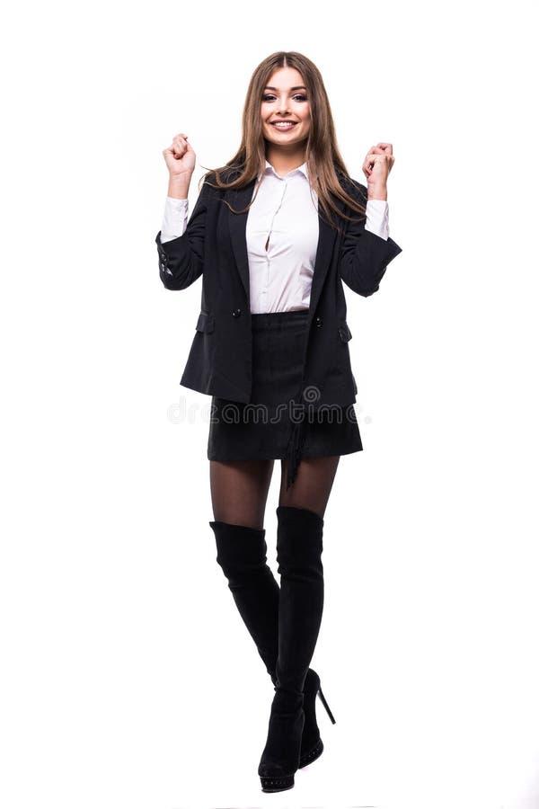 Van de bedrijfs succeswinnaar geïsoleerde vrouw Grappig beeld van vierende gelukkige jonge onderneemster in volledige lengte met  royalty-vrije stock foto