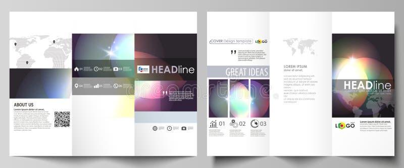 Van de Bedrijfs trifoldbrochure malplaatjes aan beide kanten Gemakkelijke editable abstracte vectorlay-out Retro stijl, mystiek s vector illustratie