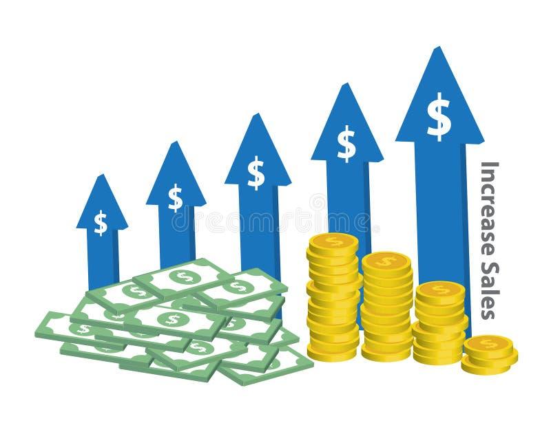 Van de bedrijfs verhogingsverkoop grafiekteken stock illustratie