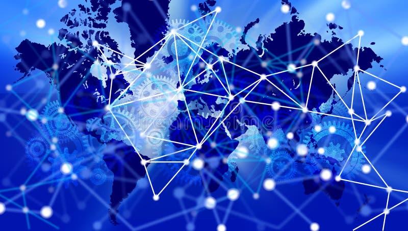 Van de bedrijfs wereldtechnologie Bannerachtergrond De verbonden Bol Google van de Technologiewereld Vector illustratie royalty-vrije illustratie