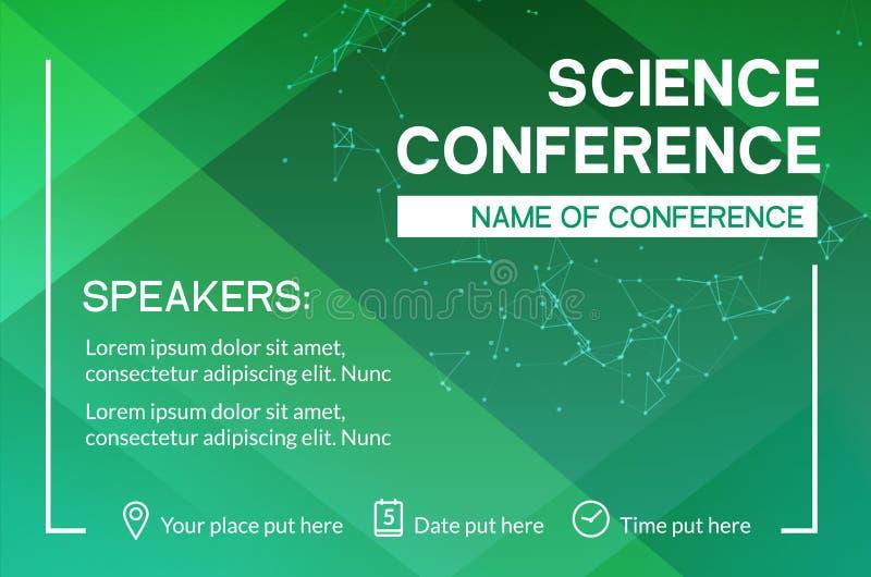 Van de bedrijfs wetenschapsconferentie ontwerpmalplaatje De vlieger op de markt brengende adverterende vergadering van de wetensc vector illustratie