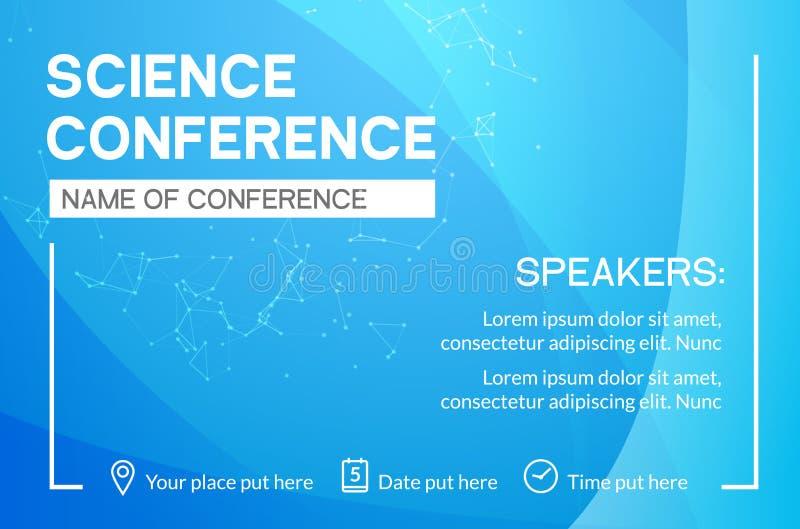 Van de bedrijfs wetenschapsconferentie ontwerpmalplaatje De vlieger op de markt brengende adverterende vergadering van de wetensc stock illustratie