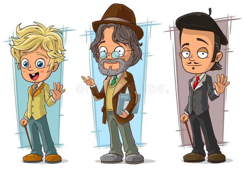 Van de beeldverhaal intelligente leraar en kunstenaar karakter vectorreeks stock illustratie