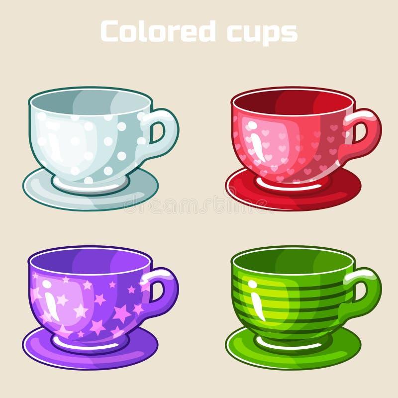 Van de beeldverhaal kleurrijke thee en koffie koppen stock illustratie