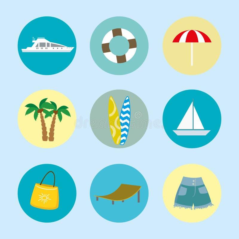 Van de de beeldverhaalzomer en vakantie pictogrammen vector illustratie