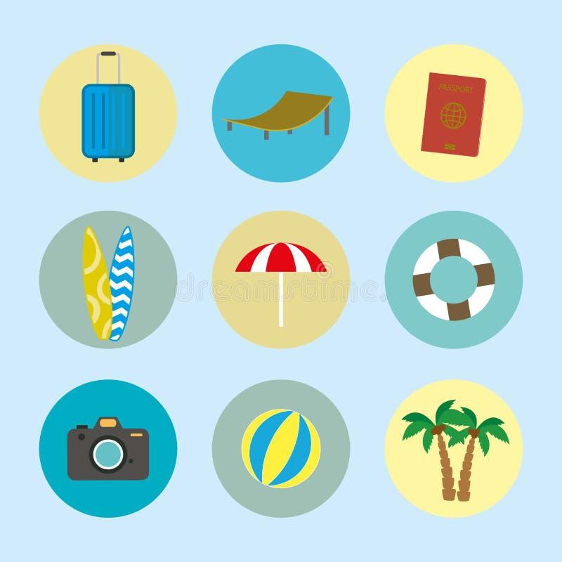 Van de de beeldverhaalzomer en vakantie pictogrammen royalty-vrije illustratie
