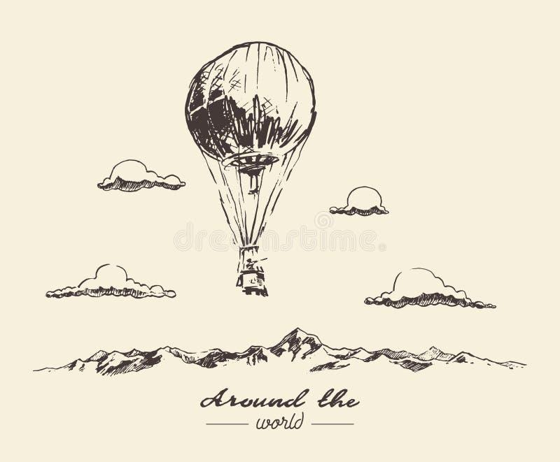 Van de bergenavonturen van de luchtballon de vectorschets royalty-vrije illustratie