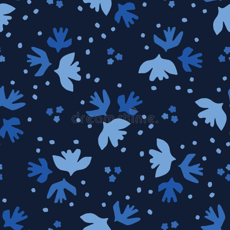 Van de besnoeiingsvogels van indigo het blauwe graphicpaper naadloze patroon De moderne vliegende vectorillustratie van hemelvleu stock illustratie