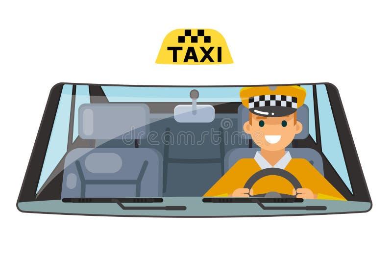 Van de de bestuurdersauto van het taxivoertuig binnenlandse het wielrit die geïsoleerde vlakke ontwerp vectorillustratie drijven royalty-vrije illustratie