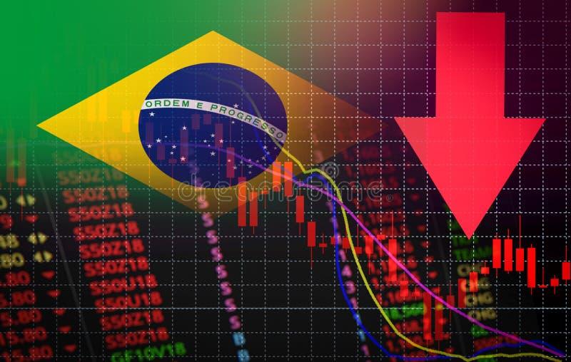 Van de de Beursmarkt van Brazilië de crisis rode marktprijs onderaan de Zaken van de grafiekdaling en de crisis rode negatieve da stock illustratie