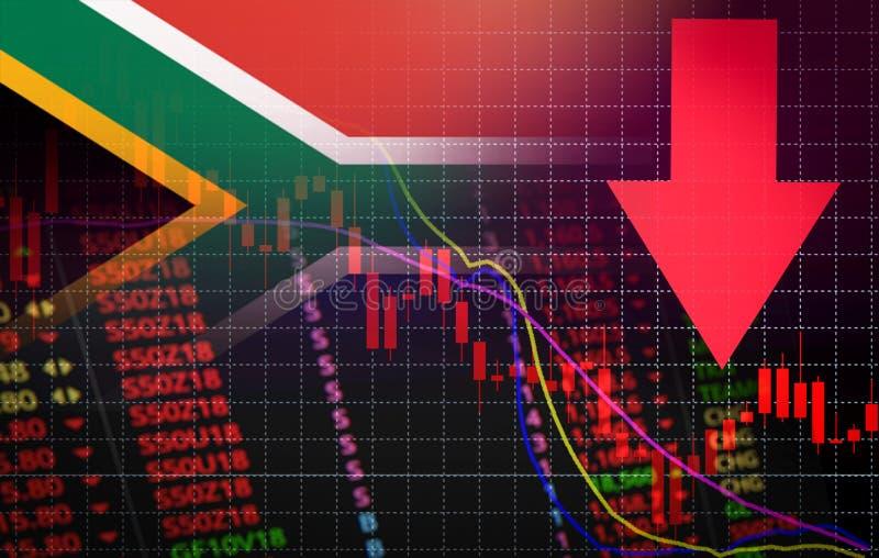 Van de de Beursmarkt van Zuid-Afrika de crisis rode marktprijs onderaan de Zaken van de grafiekdaling en de crisis rode negatieve royalty-vrije illustratie