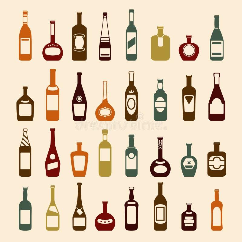 Van de bierflessen en wijn pictogramreeks vector illustratie