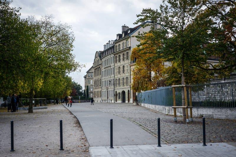 In van de binnenstad van Genève stock fotografie