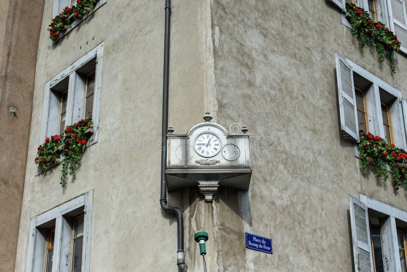 In van de binnenstad van Genève stock foto's