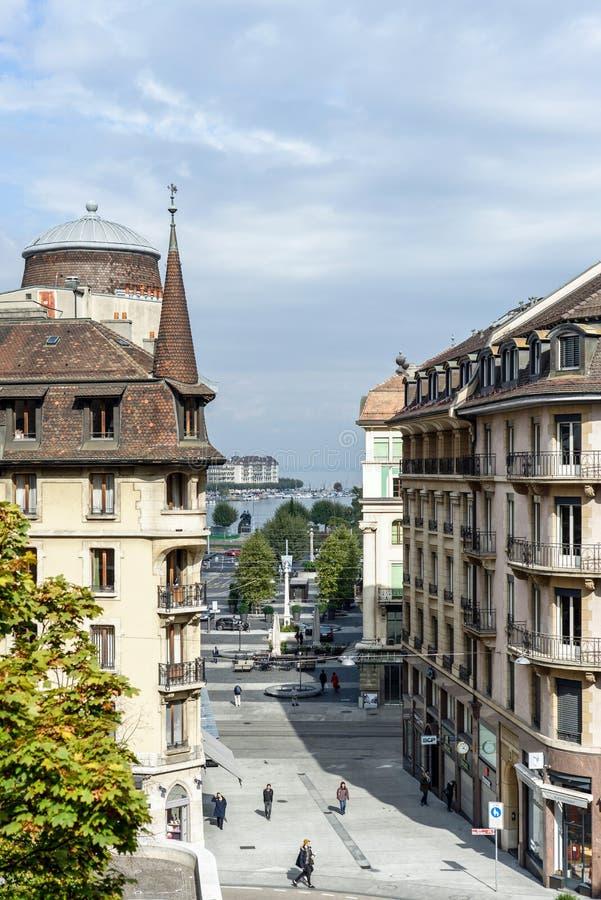 In van de binnenstad van Genève royalty-vrije stock afbeeldingen