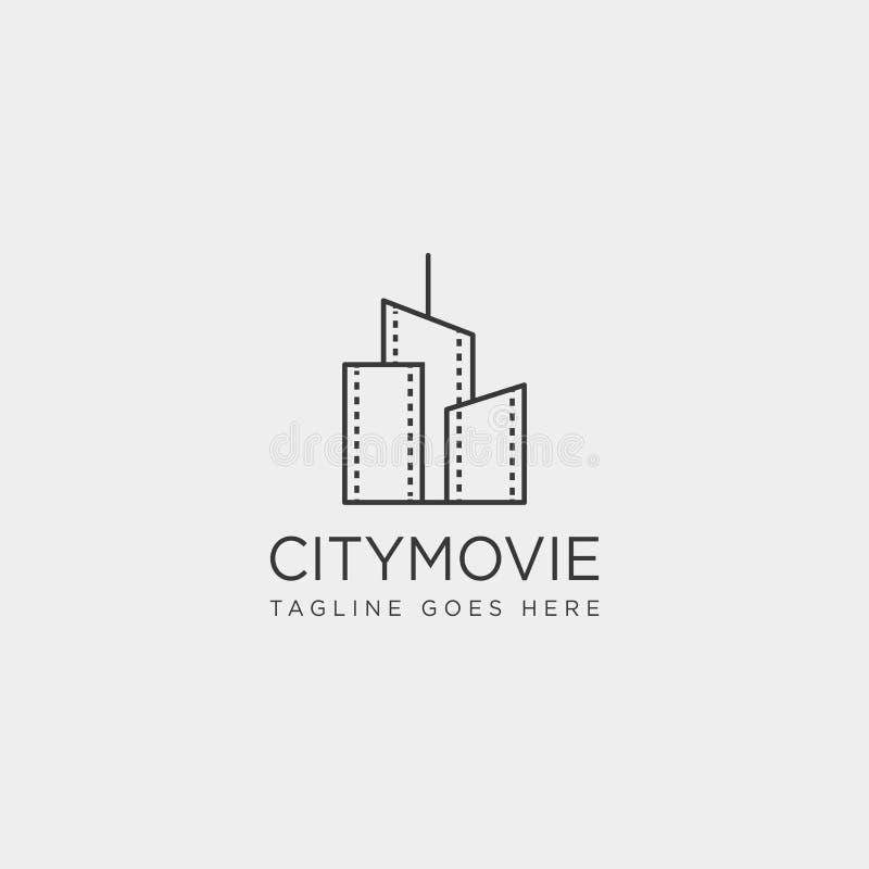 van de de bioskooplijn van de stadsfilm het video van het het embleemmalplaatje eenvoudige element van het de illustratiepictogra royalty-vrije illustratie
