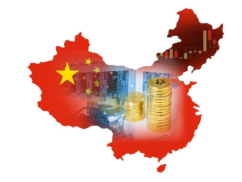 Van de Bitcoinmijnbouw en bitcoin Munt muntstuk op een effectenbeursgrafieken op Vlagkaart van China stock foto's