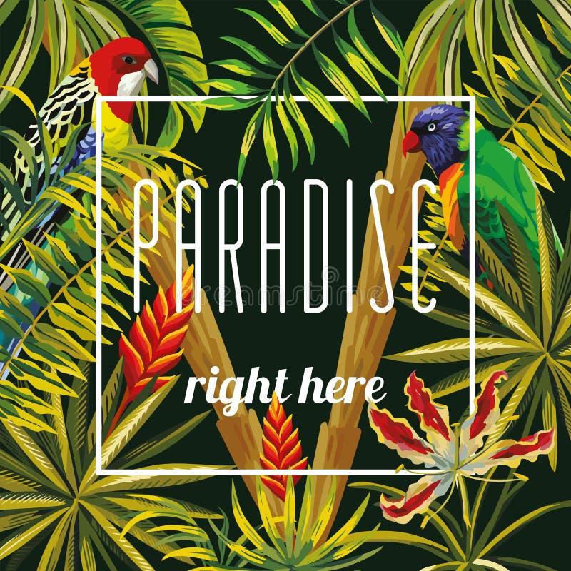 Van de bloemenbladeren van het sloganparadijs righ hier de papegaai zwarte achtergrond stock illustratie