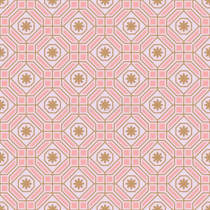 Van de de bloempastelkleur van de veelhoeklijn de symmetrie naadloos patroon vector illustratie