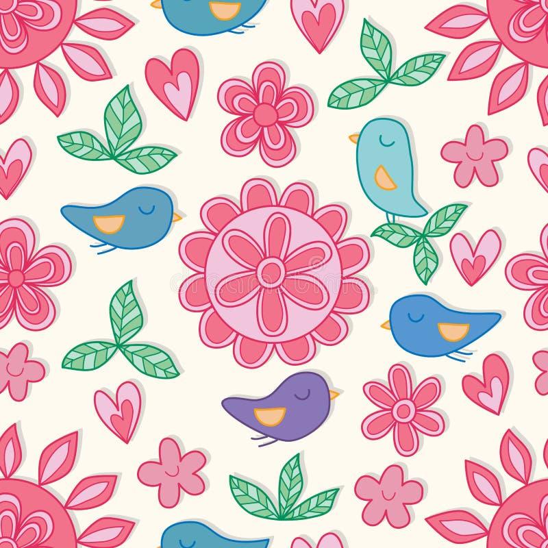 Van de de bloemvogel van de bloemcirkel van de de liefdepastelkleur roze de kleuren naadloos patroon vector illustratie