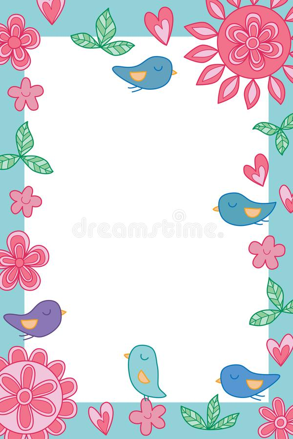 Van de de bloemvogel van de bloemcirkel van de de liefdepastelkleur roze de kleurenkader stock illustratie