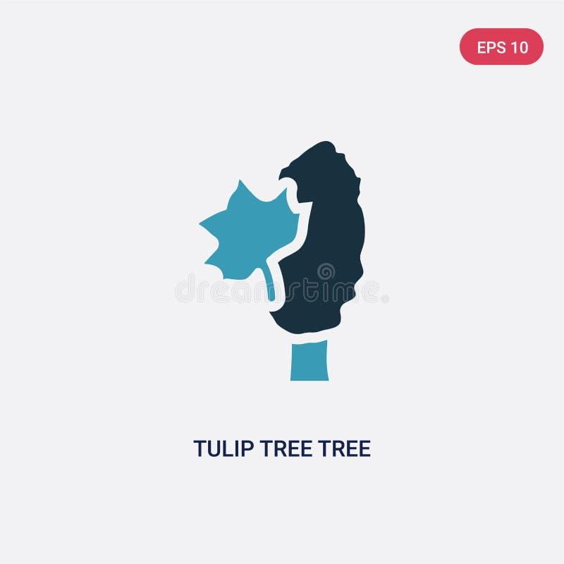 Van de de boomboom van de twee kleurentulp het vectorpictogram van aardconcept het geïsoleerde blauwe vector het tekensymbool van vector illustratie