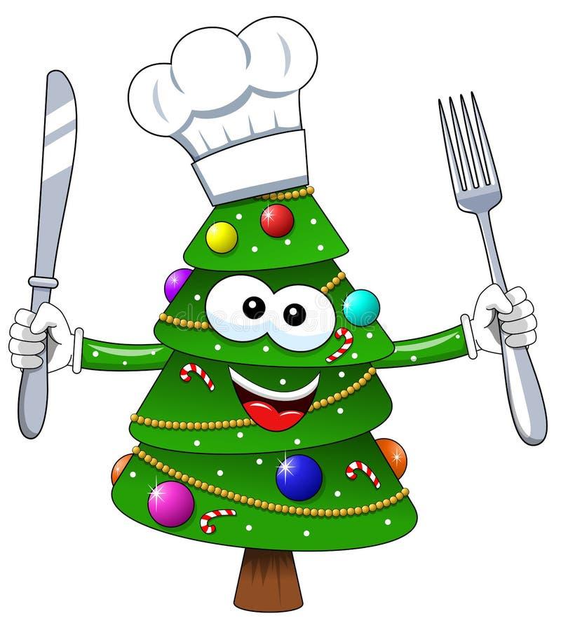 Van de de boommascotte van Kerstmiskerstmis van het de kokkarakter de vork en het mes isoleren stock illustratie