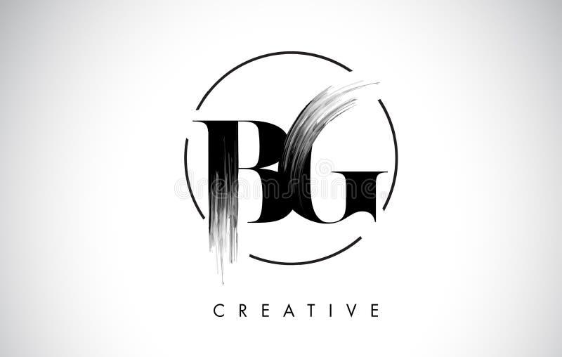 Van de de Borstelslag van BG de Brief Logo Design Zwarte Verf Logo Letters Icon vector illustratie