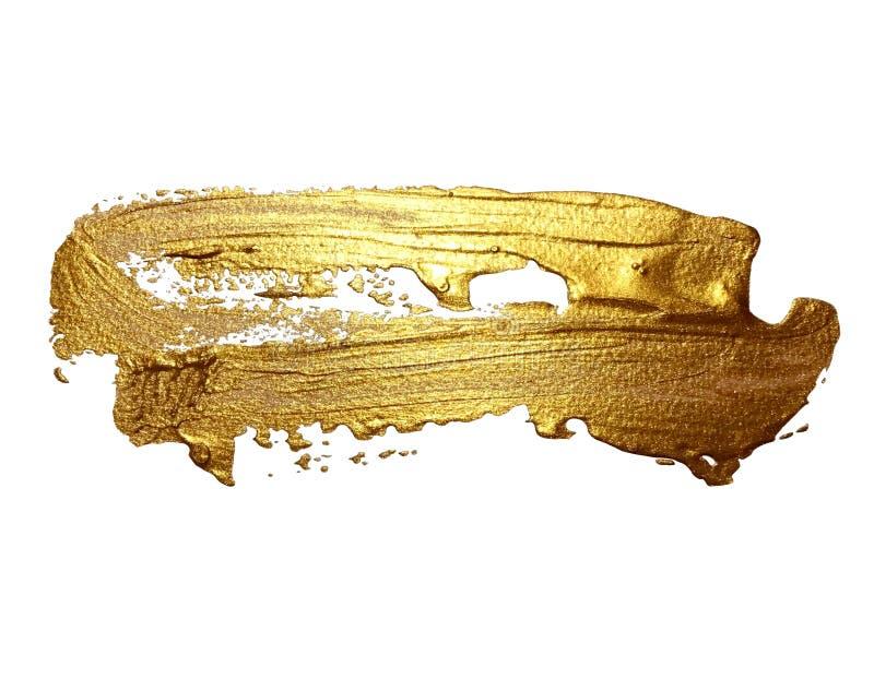 Van de de borstelslag van de handtekening gouden geïsoleerde de verfvlek royalty-vrije stock fotografie