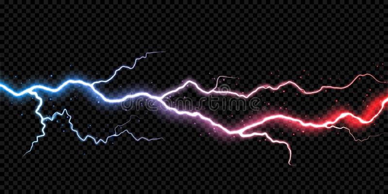 Van de de boutelektriciteit van de bliksemdonder van de de flitsvonk van het de blikseminslagonweer de lichte vector transparante vector illustratie