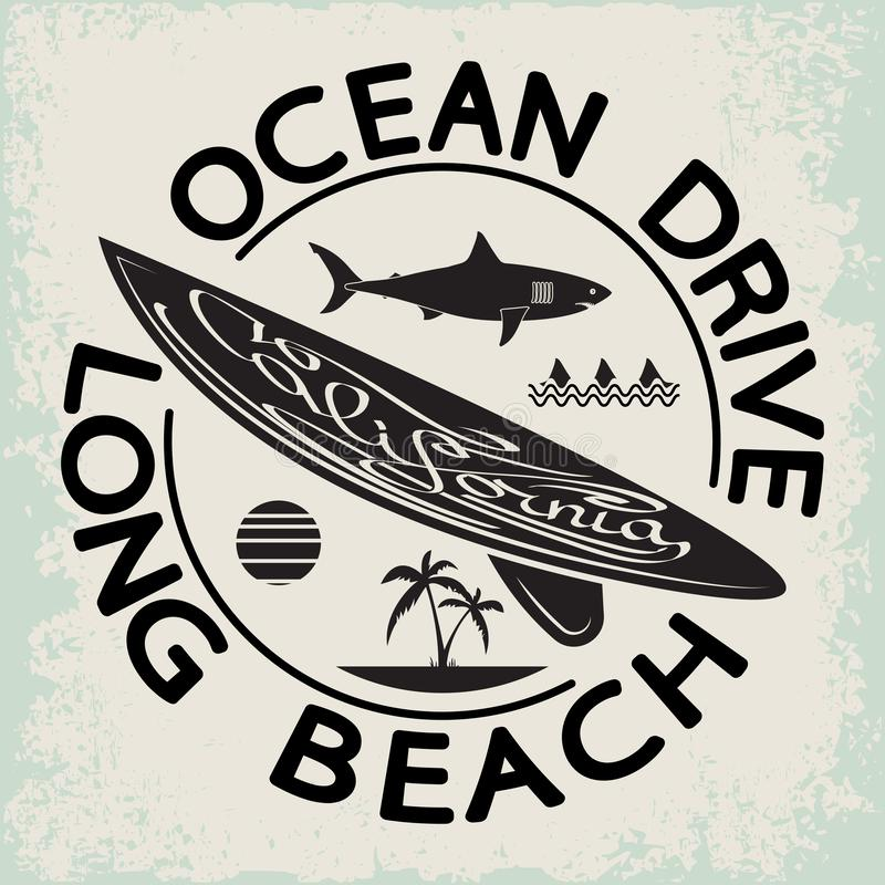 Van de de brandingsslijtage van Californië de typografieembleem Het surfen t-shirt grafisch ontwerp de surfers drukken zegel stock illustratie
