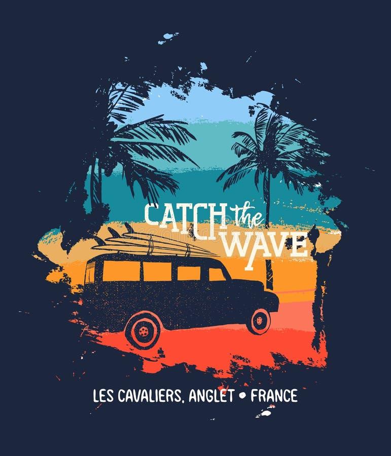 Download Van De De Brandingszomer Van Frankrijk De Vakantiekaart Voor Vakantie Vector Illustratie - Illustratie bestaande uit surfplank, auto: 114226651