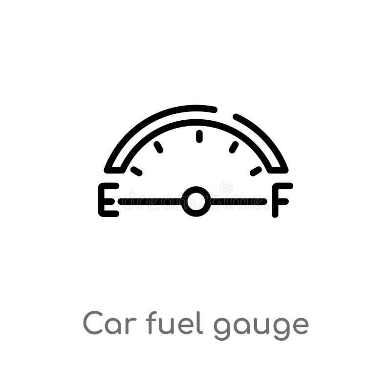 van de de brandstofmaat van de overzichtsauto het vectorpictogram de ge?soleerde zwarte eenvoudige illustratie van het lijnelemen stock illustratie