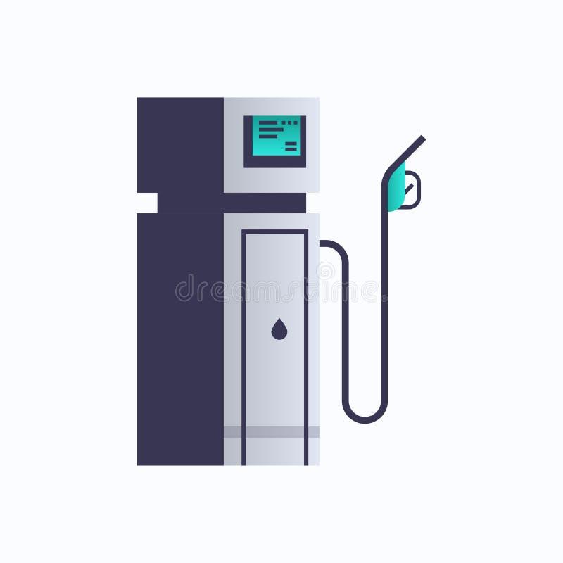 Van de de brandstofpost van de gasaardolie van het de pomppictogram van de de olieindustrie vlakke het concepten witte achtergron vector illustratie