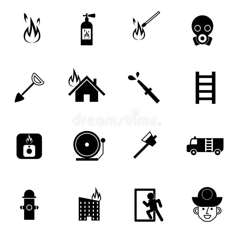 Van de brandvechter en noodsituatie reddingspictogrammen geplaatst vectorillustratie royalty-vrije illustratie