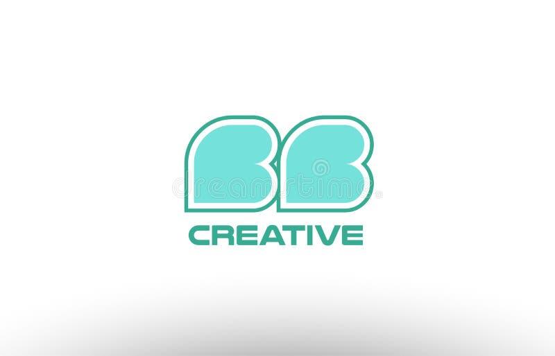 van de brievenbb B B van het pastelkleur groen alfabet coman de combinatie gezamenlijk embleem royalty-vrije illustratie