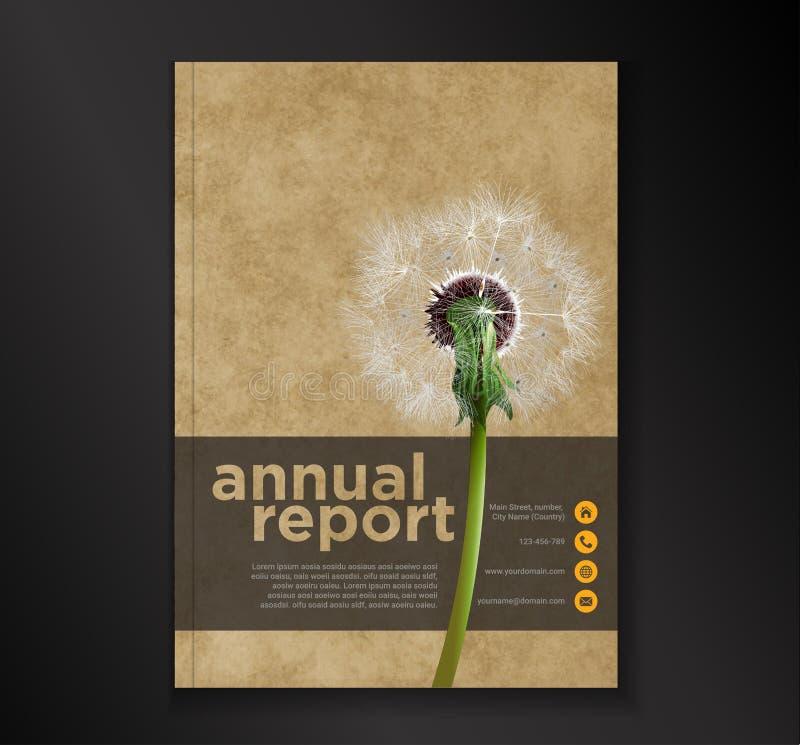 Van de de brochurevlieger van het paardebloem jaarverslag het ontwerpmalplaatje, de presentatie abstracte vlakke achtergrond van  vector illustratie