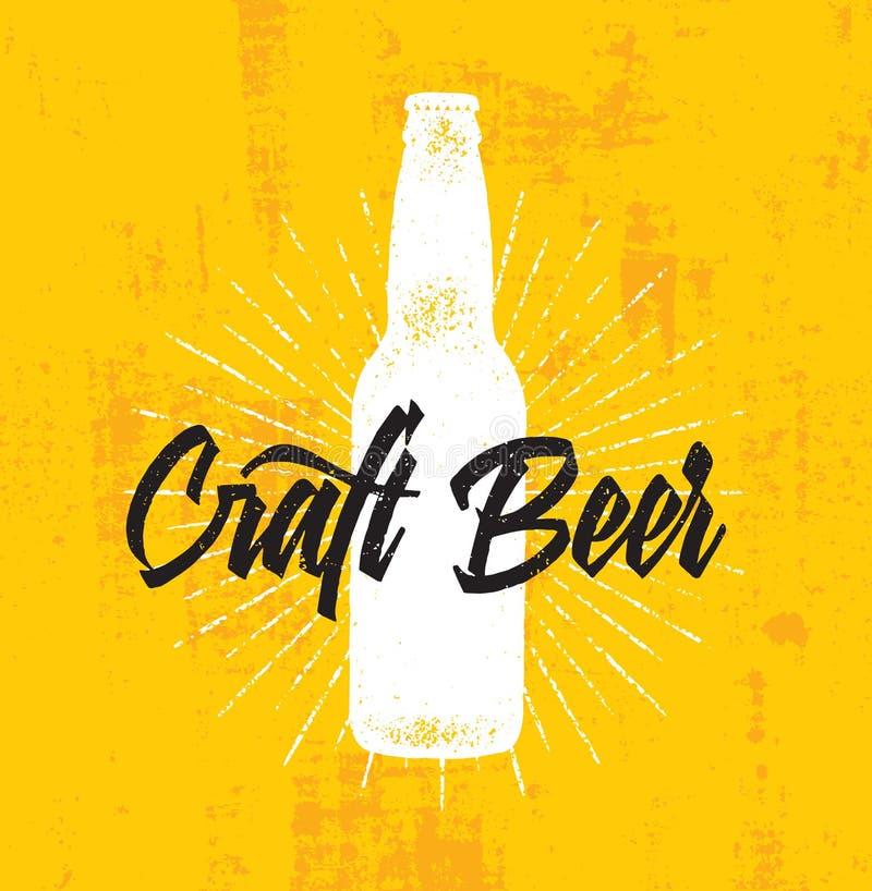 Van de de Brouwerij Artisanaal Creatief Vectorzegel van het ambachtbier het Tekenconcept Ruwe Met de hand gemaakte Alcoholbanner royalty-vrije illustratie