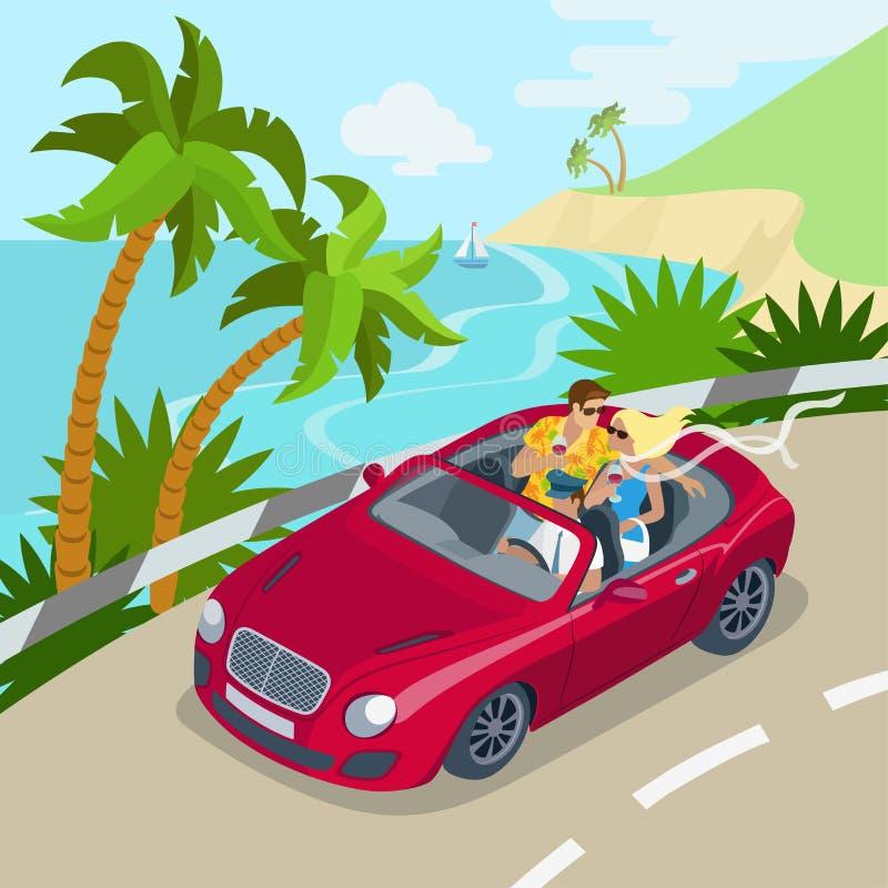 Van de cabrioauto van het reispaar vlak 3d het Web isometrisch infographic concept stock illustratie